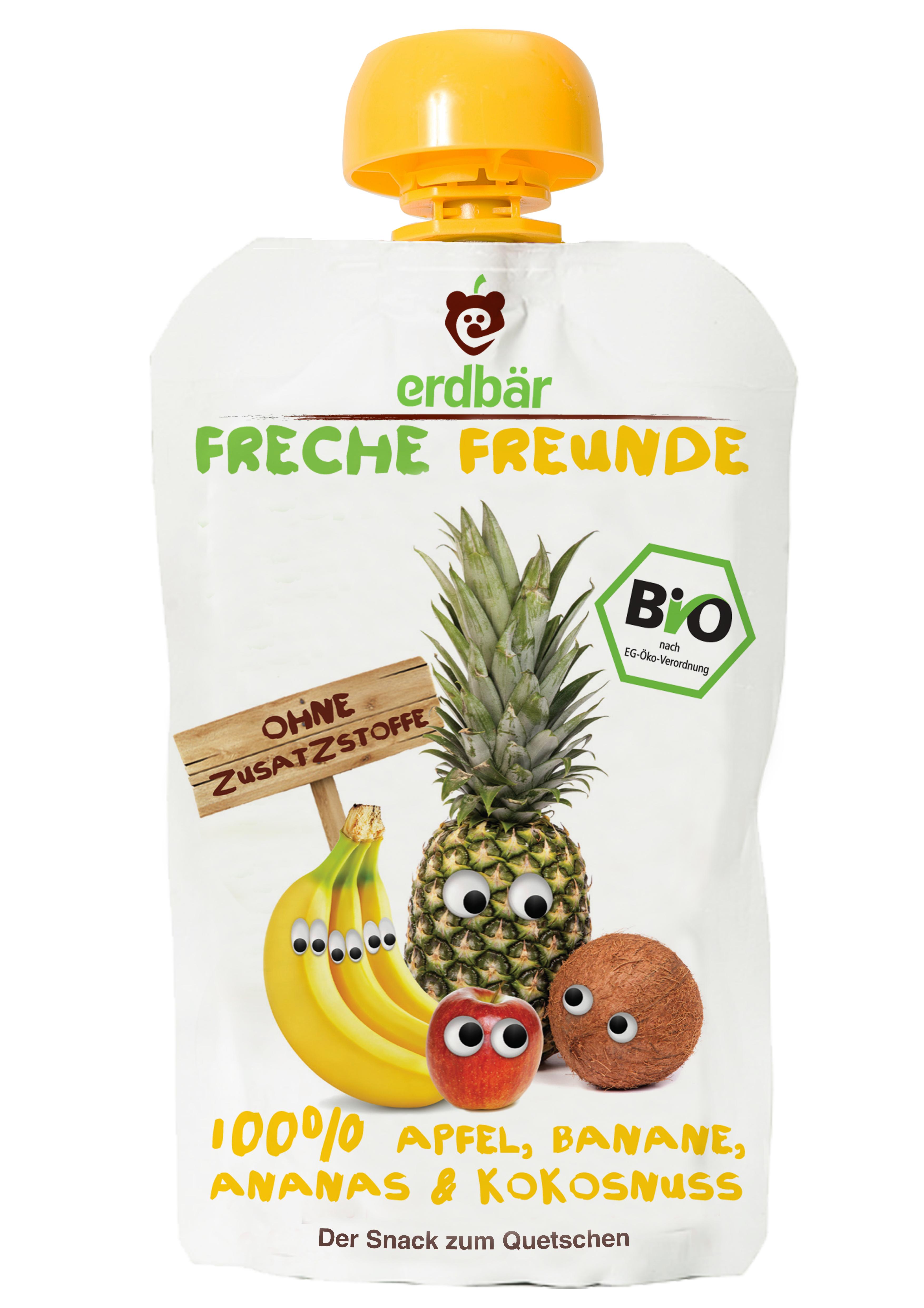 Piure de mere, banane, ananas si cocos bio 100g 0