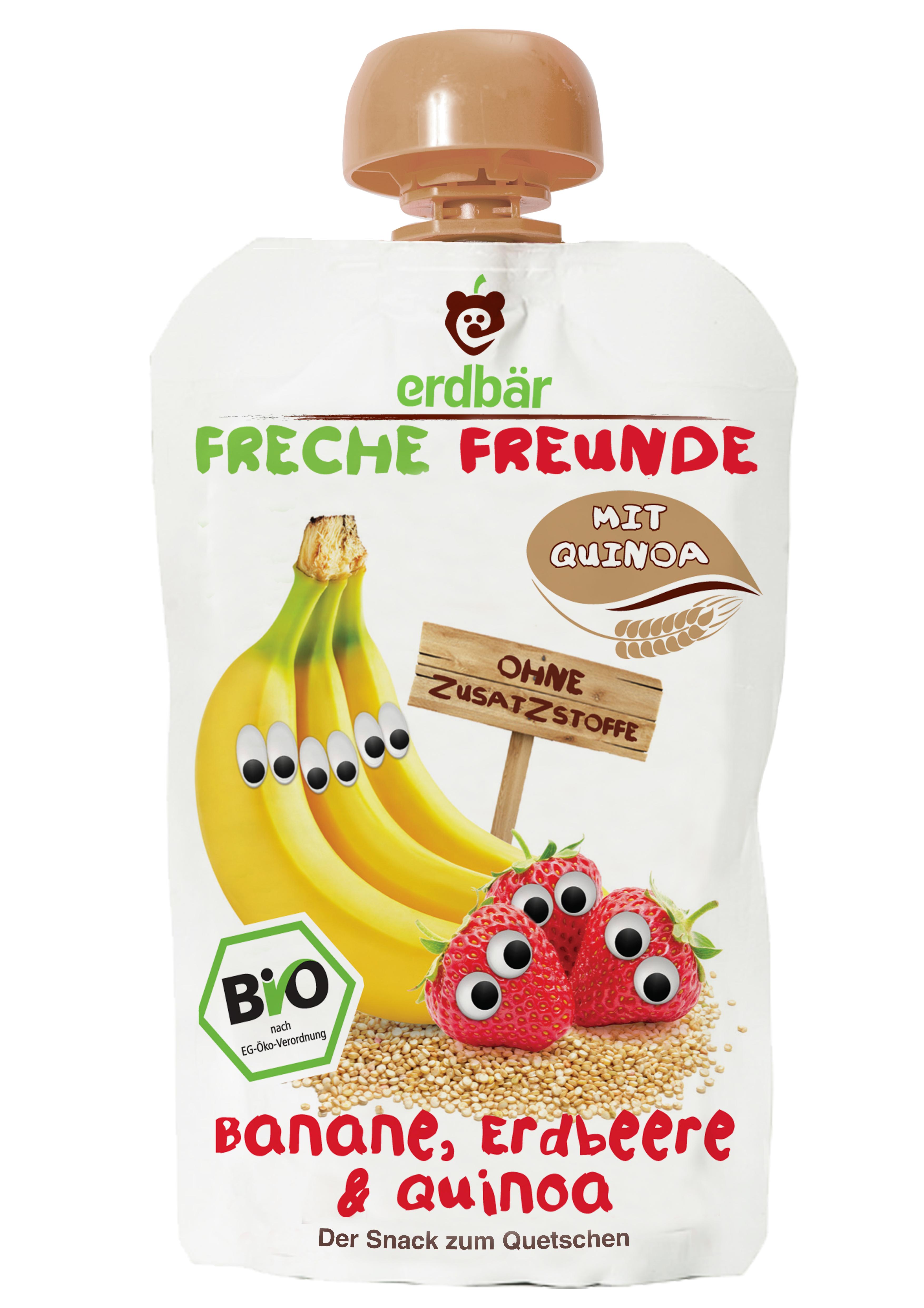 Piure de banane, capsuni si quinoa bio 100g 0